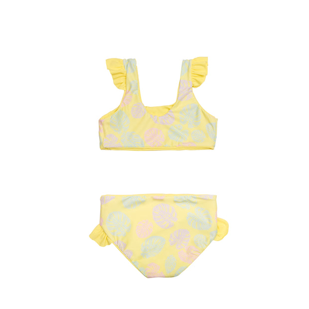 Yellow floral two piece girl's bikini swimsuit