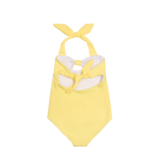 Back view of girls one piece swimsuit in yellow with bow ties