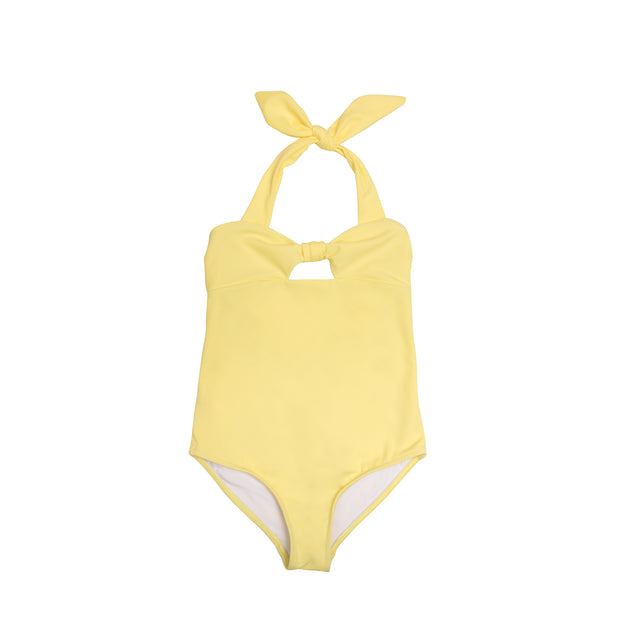 Front view of girls one piece swimsuit in yellow with bow ties