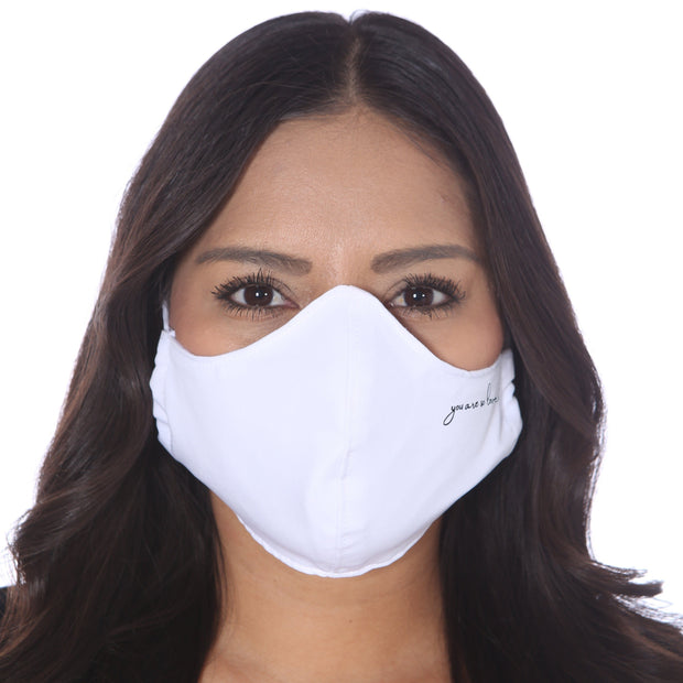 White fabric face mask for adults