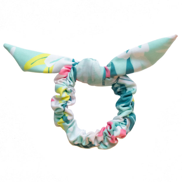 Eco-friendly colourful blue floral print scrunchies.