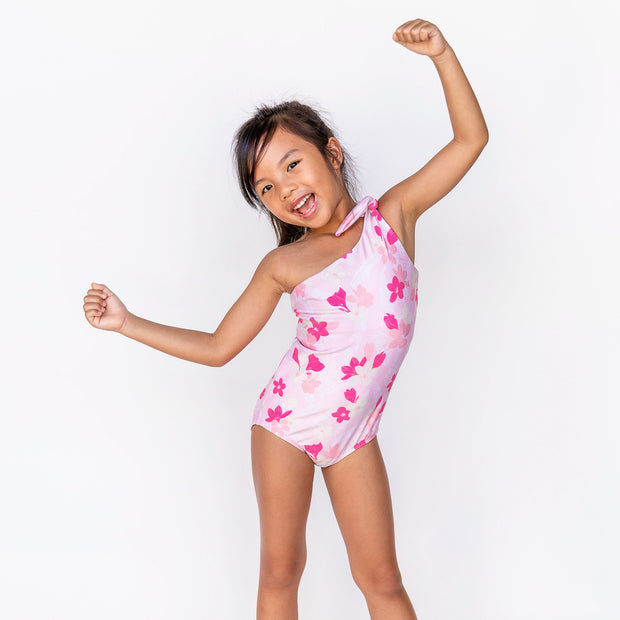 Girl's Asymmetrical One Piece | Pink Plumerias