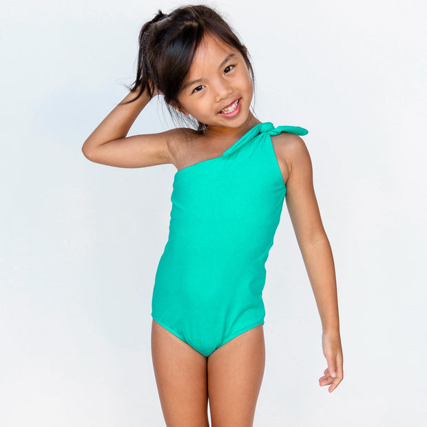 Girl's Asymmetrical One Piece | Turquoise Seas