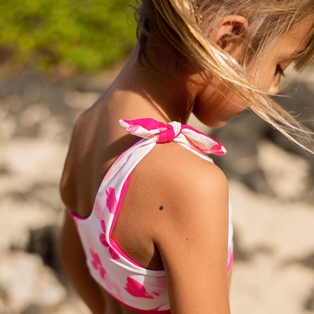 Isla Reversible Two-Piece | Dragon Fruit + Pink Plumerias