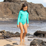 Girl's Long Sleeve Rashguard One piece | Turquoise Seas