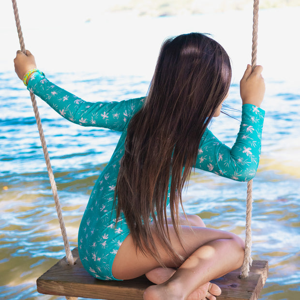 Girl's Long Sleeve Rashguard One piece | Ocean Blossom
