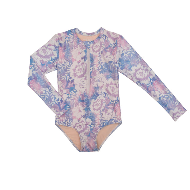 Girl's Long Sleeve Rashguard One piece | Purple Floral Tie Dye