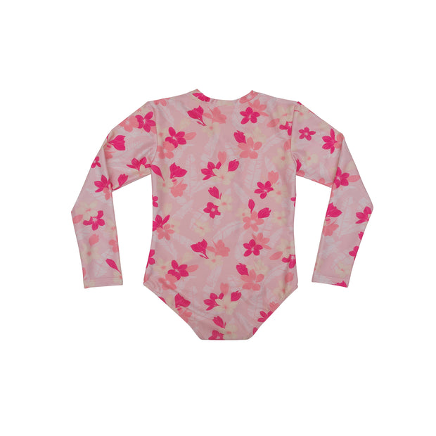 Girl's Long Sleeve Rashguard One piece | Pink Plumerias