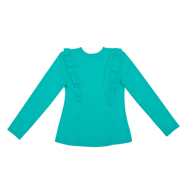 Chloe Long sleeve Rashguard Top | Turquoise Seas