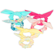 Eco-friendly colourful scrunchies.