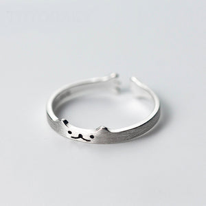 CUTE Cat Ring - Sterling Silver