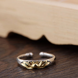 Golden Lotus - Thai Silver Ring