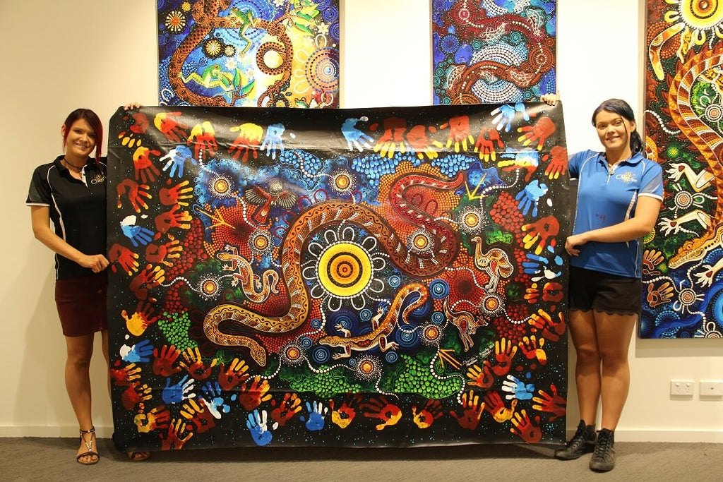 Chern'ee and Brooke hold painting workshops in Mount Isa