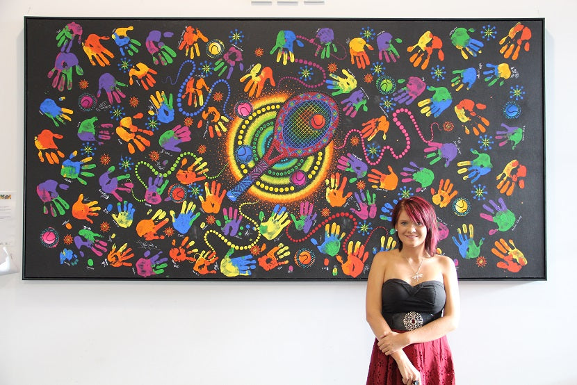 Chern'ee's Aboriginal Painting Hangs at Melbourne Park
