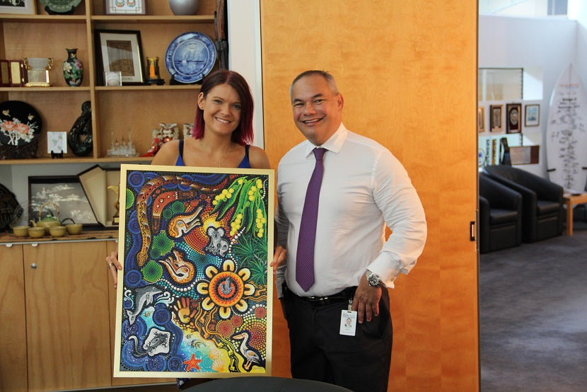 Chern'ee's Painting Given to His Royal Highness Charles Prince of Wales