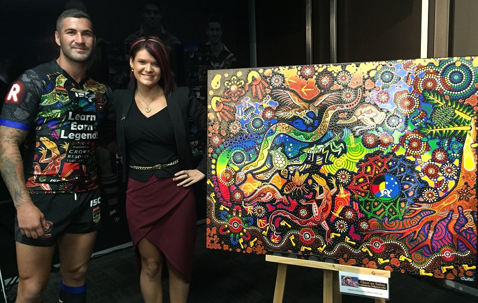 Chern'ee's Artworks Used on the Indigenous All Stars Men's and Women's Jerseys