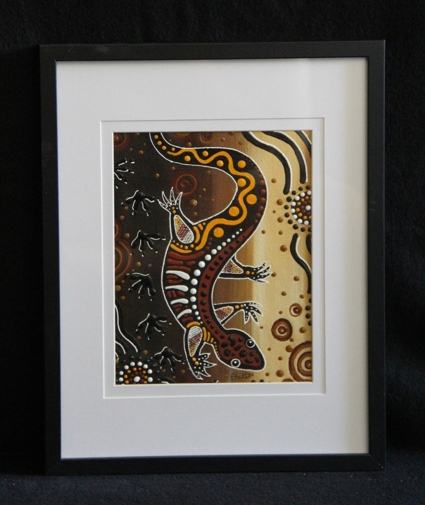 Framed Canvas - Jurutu - Goanna Framed Canvas Painting