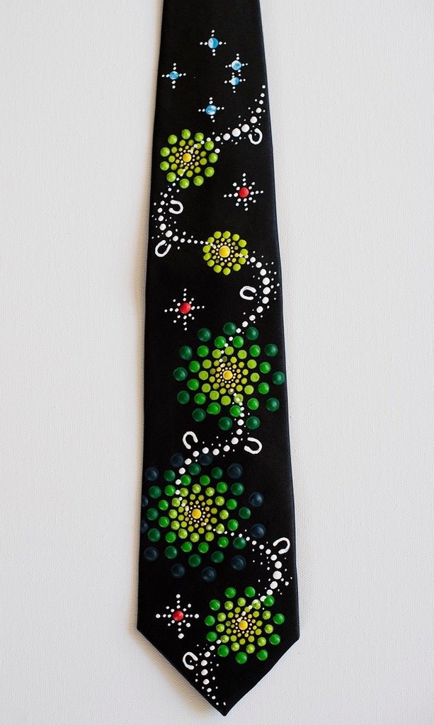 All One Country - Ajarku Muruu Hand Painted Thick Silk Tie Green