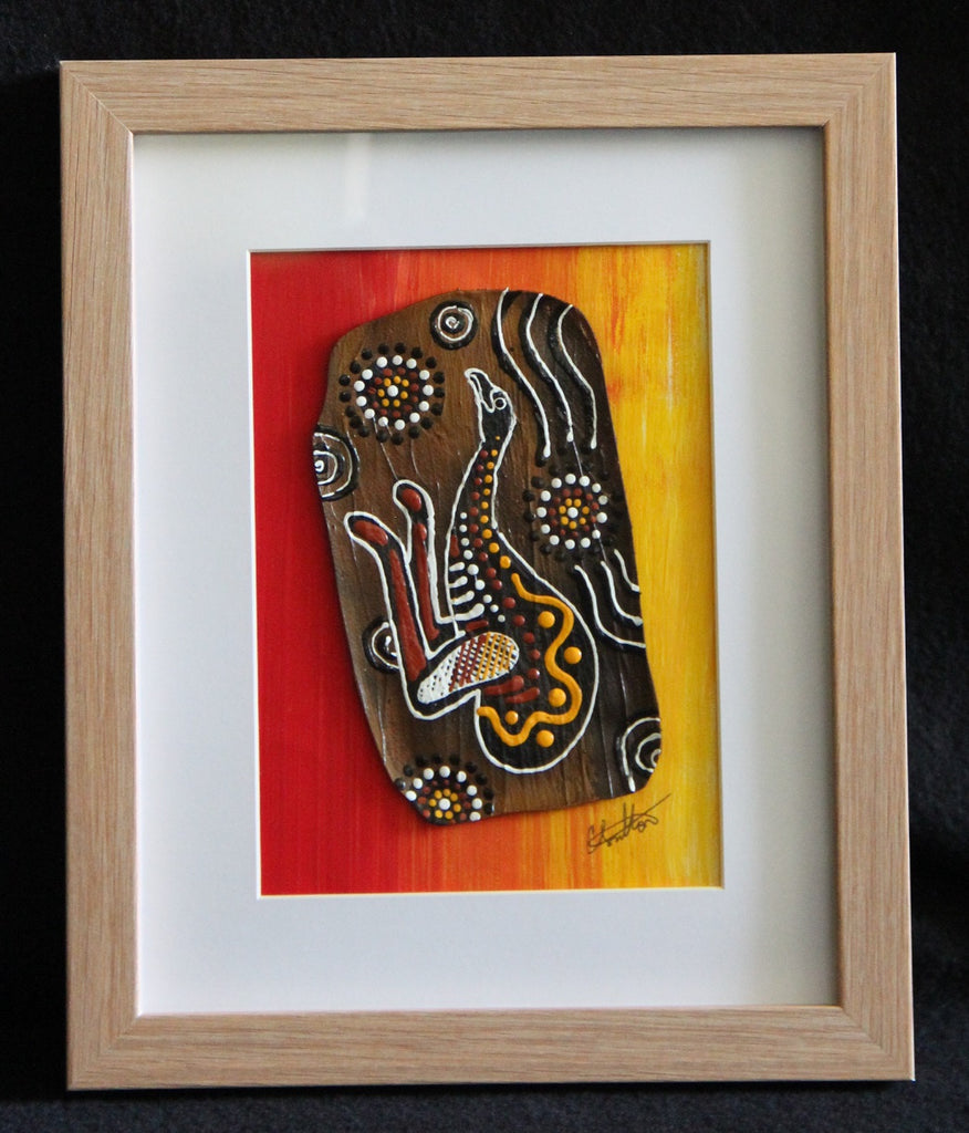 Framed Bark Canvas - Utinat - Emu Framed Artwork