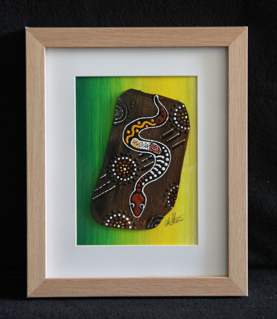 Framed Bark Canvas - Kuntarra - Snake Framed Artwork