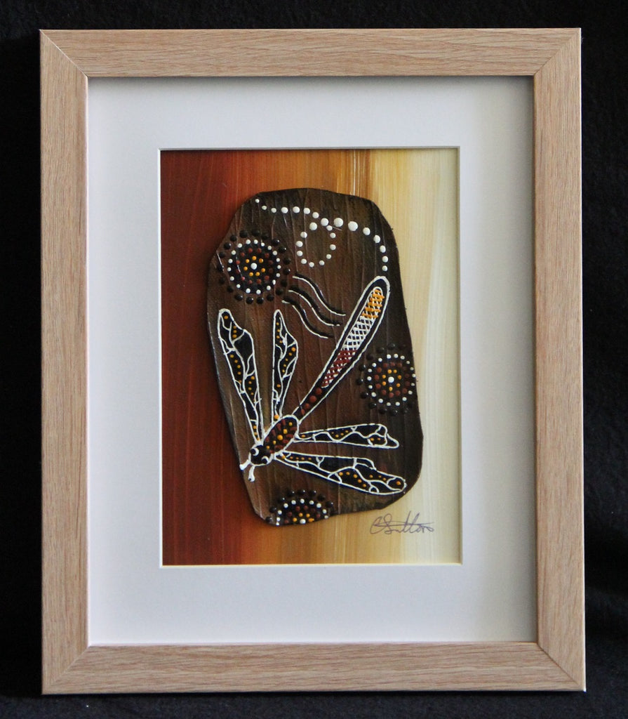 Framed Bark Canvas - Wataarri - Dragonfly Framed Artwork