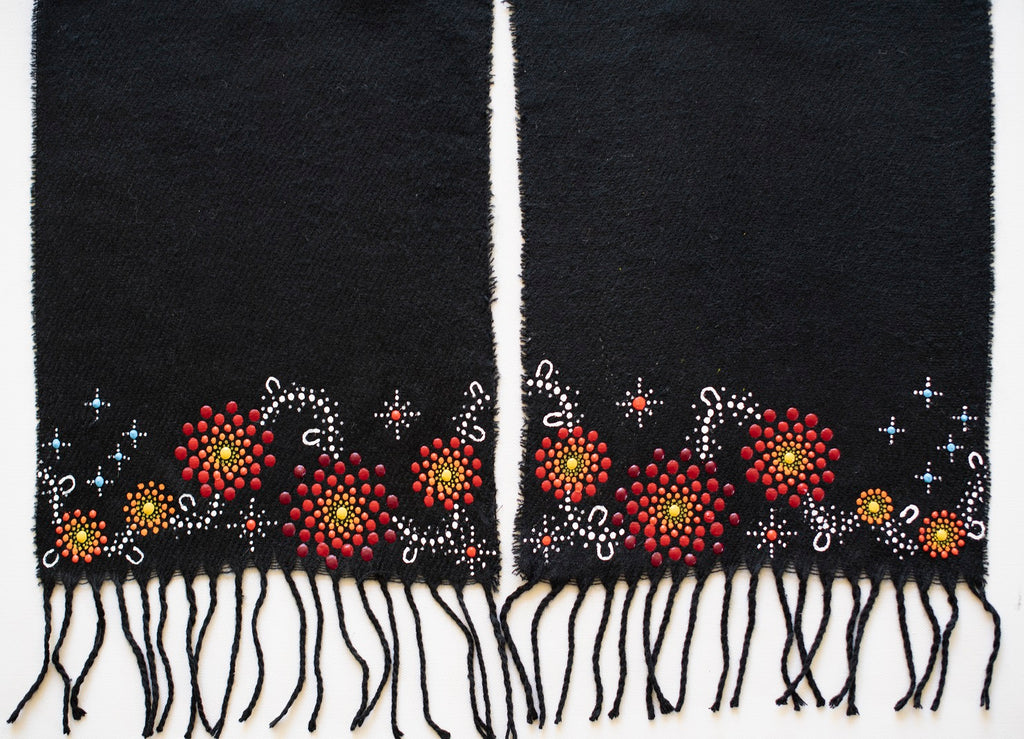 All One Country Hand Painted Black Scarf - Red