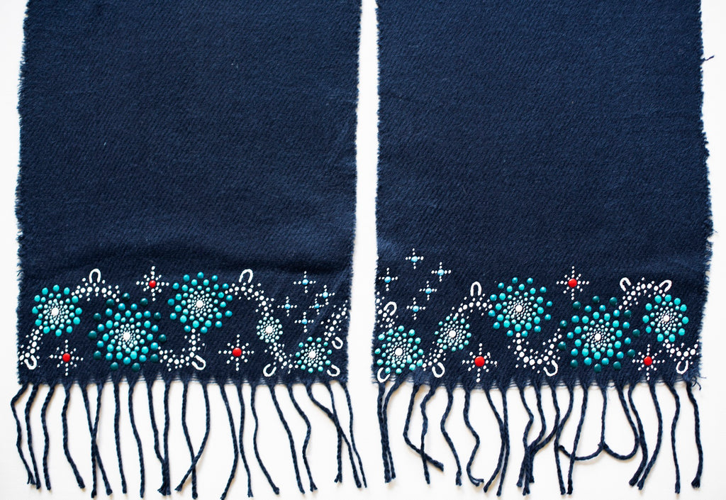 All One Country Hand Painted Navy Blue Scarf - Aqua