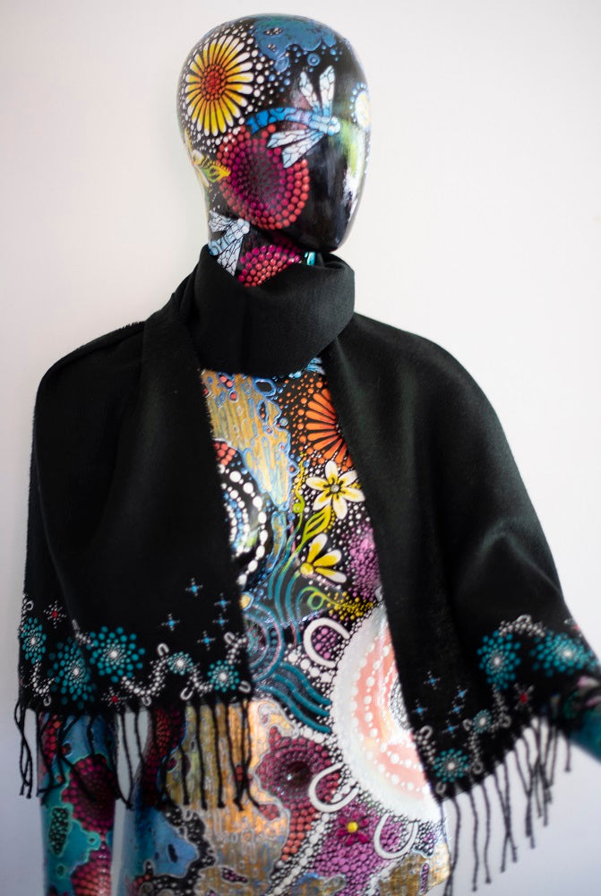 All One Country Hand Painted Black Scarf - Aqua
