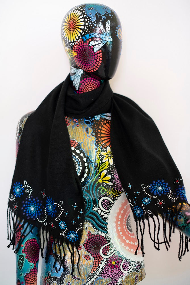 All One Country Hand Painted Black Scarf - Blue