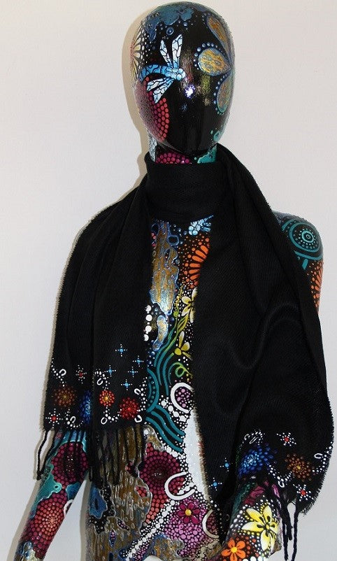 All One Country Hand Painted Black Scarf