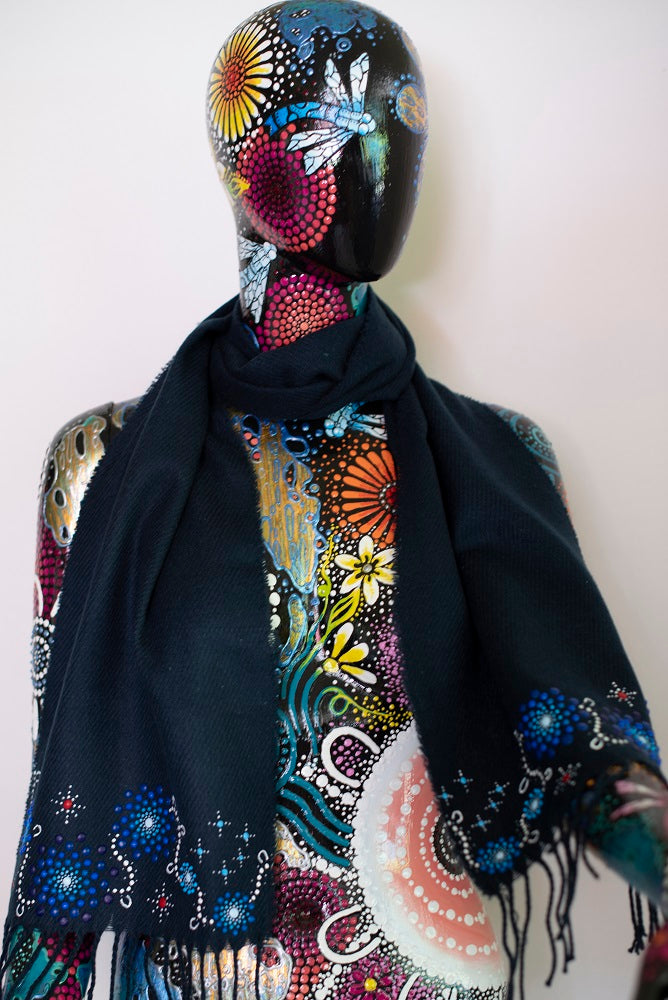 All One Country Hand Painted Navy Blue Scarf - Blue