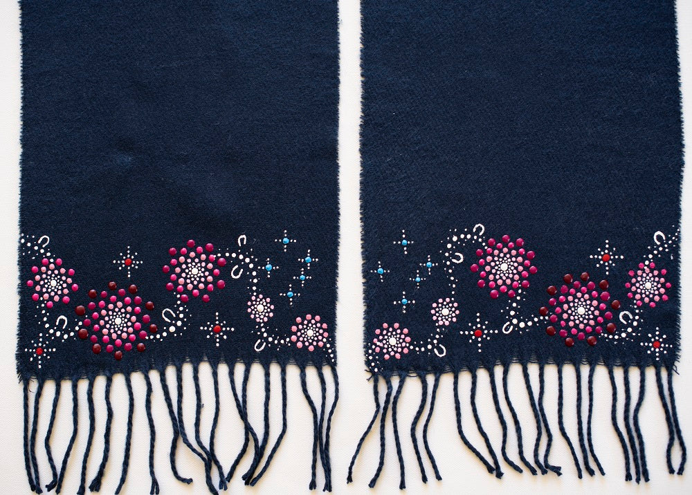 All One Country Hand Painted Navy Blue Scarf - Pink