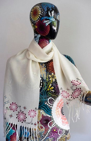 All One Country Hand Painted White Scarf - Pink