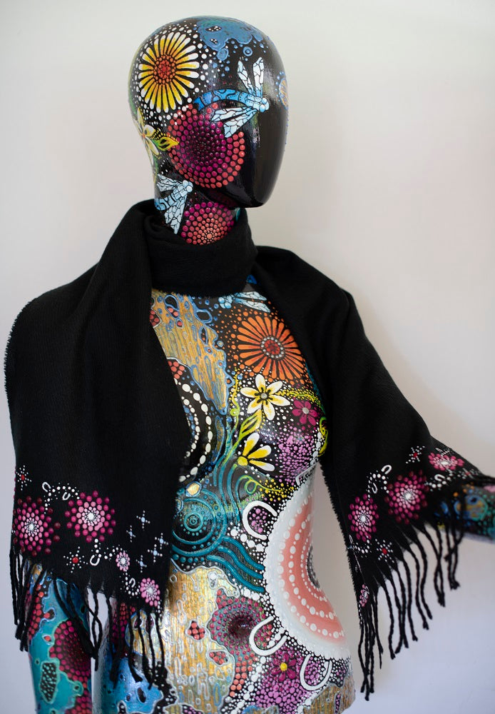 All One Country Hand Painted Black Scarf - Pink