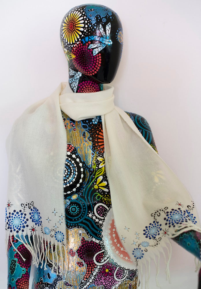 All One Country Hand Painted White Scarf - Blue