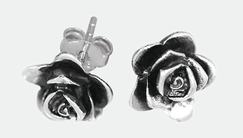Sterling silver oxidised flower stud earrings