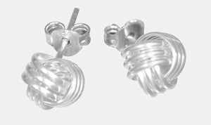Sterling Silver triple line knot stud earrings