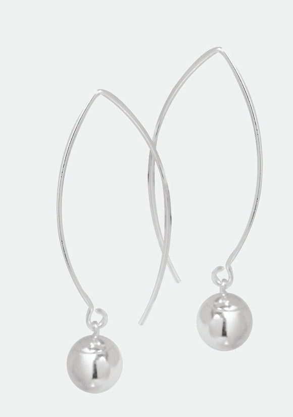 Sterling Silver long ball drop earrings