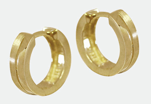 9ct yellow gold, half matt , half shiny round hoop huggies earrings