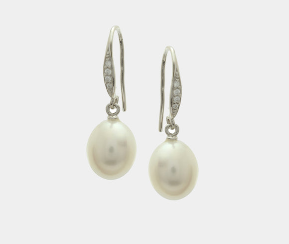 Sterling Silver, freshwater pearl and cubic zirconia drop earrings