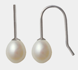 Sterling Silver white freshwater pearl drop earrings