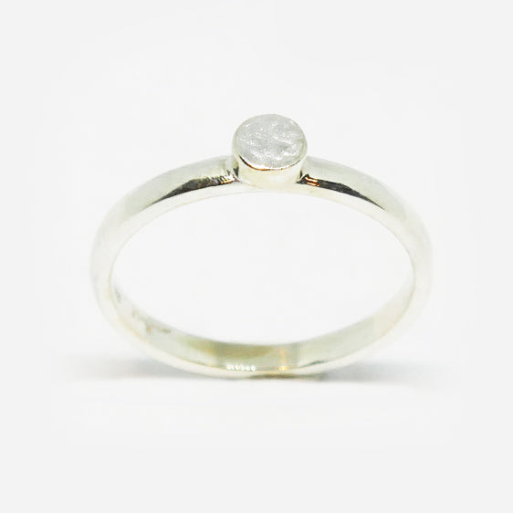 Sterling silver textured round stacker ring