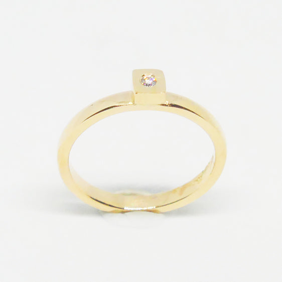 9ct gold and white diamond square stacker ring