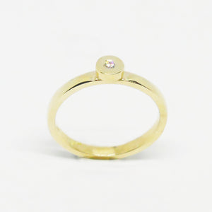 9ct gold and white diamond round stacker ring