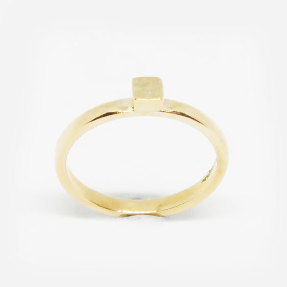 9ct gold textured square stacker ring