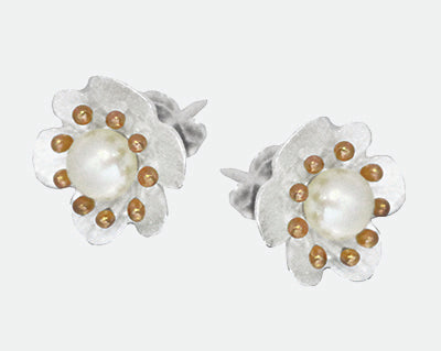 Sterling Silver and rose gold plated flower studs with pearl