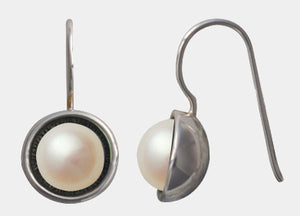 Sterling Silver & freshwater white pearl domed back drop earrings