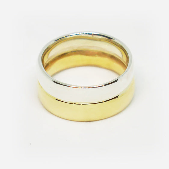 9ct gold and sterling silver wide double band ring
