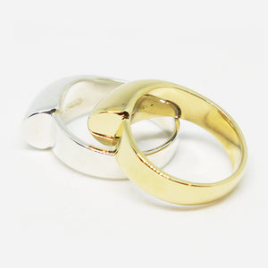 9ct gold half bar ring