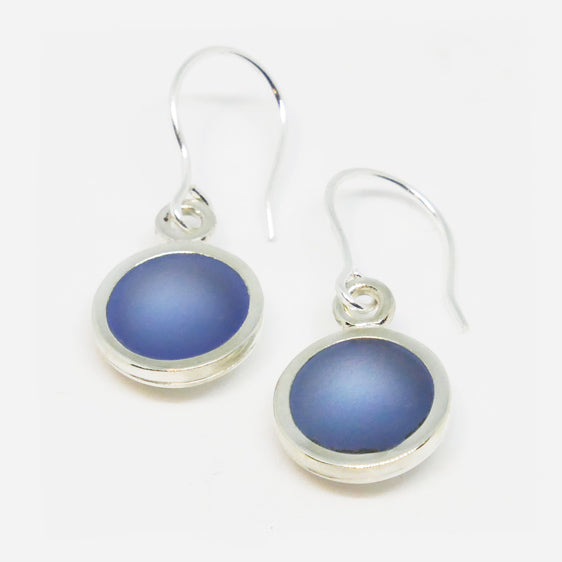 Sterling Silver resin drop earrings (pictured light blue ink) Choose your colour